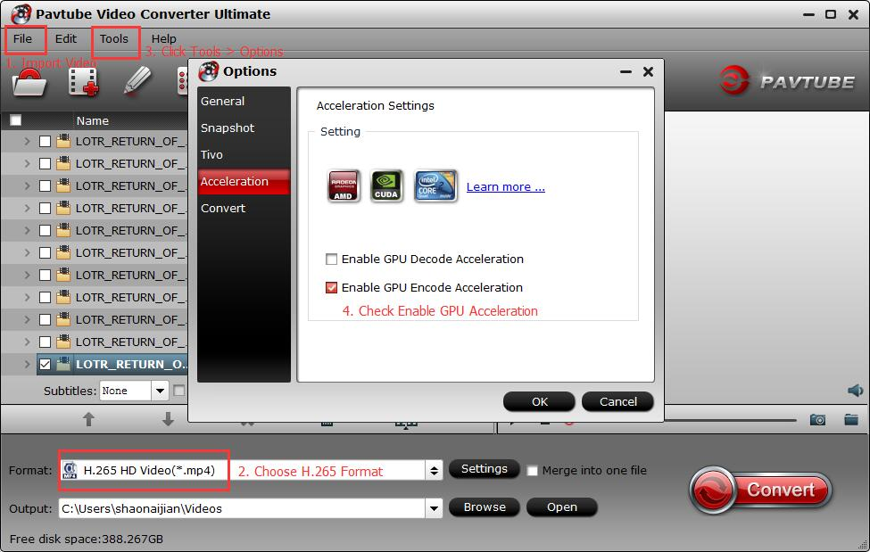 Pavtube Video Converter Ultimate H265 Encode Acceleration